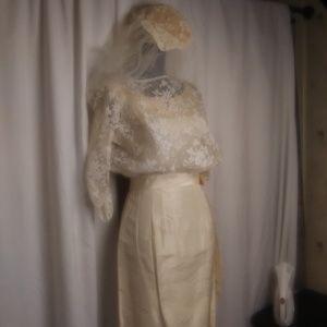 1960s I Magnin Wedding Dress and Veil Vintage